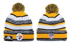 5337d84ae Mens   Womens Pittsburgh Steelers New Era NFL On-Field Sport Sideline  Cuffed Knit Pom. Pom Pom Beanie HatKnit ...