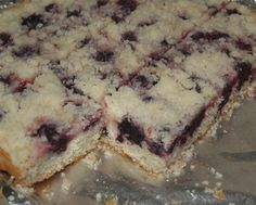 "Mennonite Blackberry Platz ( Platz is an old world Ukrainian dessert which means ""flat cake"". The cake is topped with a tart fruit such as blackberries, blueberries, apples, gooseberries or rhubarb) (1) From: Yellowrock Country Girl, please visit"