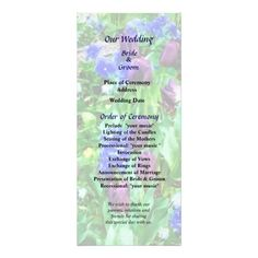 Spring Garden in Shades of Purple Wedding Program -- Spring wedding program that you can customized yourself.  #wedding  #weddingprogram #weddingprograms #gettingmarried #customize #flower #flowers #garden #spring #tulips #hyacinth #pansy #pansies #purple $0.65 per card   BULK PRICING AVAILABLE!