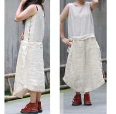 Asymmetrical Sleeveless Long Dress with Silver Buttons/ Ethnic Style Linen Sundress with Accordion Folds 19 Colors/ Any Size. $75.00, via Etsy.