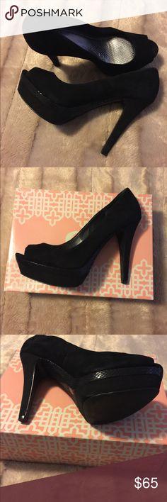 Gianni Bini platform pumps. Only worn twice... Black snake skin leather and suede upper Platform peep-toe pump Gianni Bini Shoes Platforms