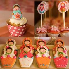 I loved the Babushka dolls peeking out everywhere. PARTY HIGHLIGHTS to look out for: – Gorgeous Matryoshka Doll sugar cookies, cupcake toppers + … Baby Birthday, Birthday Parties, Dessert Table Decor, Table Decorations, Fancy Cupcakes, Doll Party, Matryoshka Doll, Cake Shapes, Party Desserts
