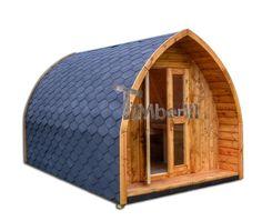 Iglu Campinghaus oder Gartenhaus der sibirischen Fichte Lärche oder Thermoholz steht zum Verkauf