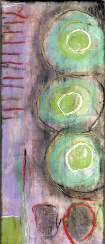Love these colors together!  Encaustic by Karla Englehardt
