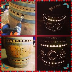 Wine Barrel Luminary with Moons and Stars home wine maker http://how-to-make-wine-home.blogspot.com