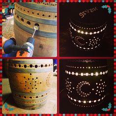Wine Barrel Luminary with Moons and Stars