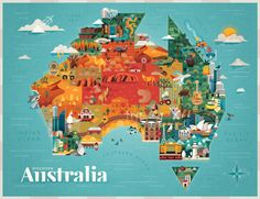 "Illustrations by Jimmy Gleeson ""Discover Australia"" on Behance"