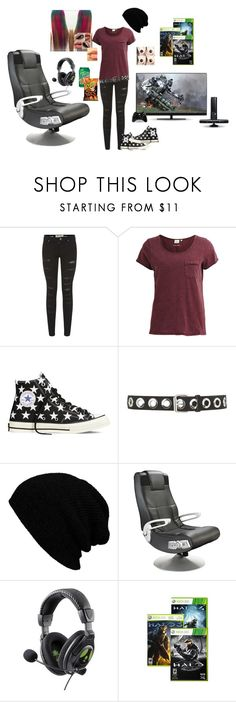 """""""Gamer Girl outfit 1"""" by sjcountrygirl-sj ❤ liked on Polyvore featuring Parisian, Object Collectors Item, Converse, Topshop and Ace Bayou"""