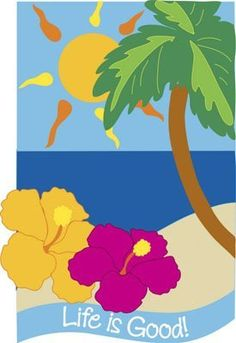 Tropical Palm Tree Beach Life Is Good Garden Flag by Evergreen. Save 19 Off!. $12.95. High quality nylon. 2-sided. Garden Flag size is approx. 12.5 inches wide x 18 inches long. Fits garden flag stand. Tropical Palm Tree Beach Life Is Good Garden Flag