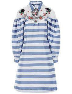 Blue Striped Satin Iona Dress Vivetta