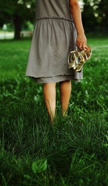 Walking on grass with barefeet. I have been ready to do this for months now...come on grass....you can do it! Grow so I may stroll upon  you!