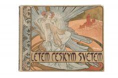 Alphonse Mucha - 'Letem Ceskym Svetem' book binding, 1898 - 36.7 x 28.5 cm. Linen [...], Art Nouveau et Art Déco à Quittenbaum Kunstauktionen   Auction.fr