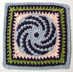 "Ravelry: Spiralling into Spring 9""/12"" Afghan Block Square pattern by Margaret MacInnis"