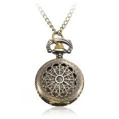 Sale 24% (5.15$) - Vintage Steam Punk Quartz Bronze Necklace Pocket Women Watch