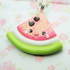 Watermelon Kawaii Charm Polymer Clay Miniature Food Jewelry Handmade by Sweet Clay Creations