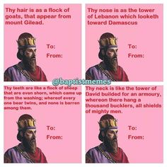 Biblical valentine cards, e. Thine eyes are like the fishpools in Heshbon. Funny Christian Jokes, Christian Humor, My Funny Valentine, Valentine Cards, Christian Pick Up Lines, Clean Funny Pictures, Laughed Until We Cried, Religion, Funny Songs
