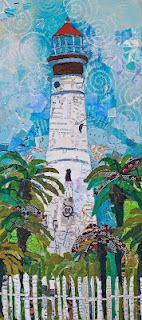 Key West Lighthouse  collage on wood panel  10x22