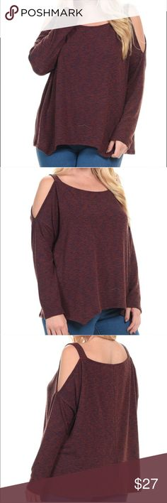 Plus Size Striped Cold Shoulder Hi-Low Shirt This cold shoulder too is great for all seasons. It's made of 53% rayon, 43% polyester, and 4% spandex! Bellino Clothing Tops Tees - Long Sleeve