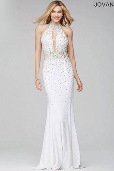 Off-White Sleeveless Halter Fitted Dress 29343
