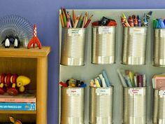 Organizador de materiales reciclando latas