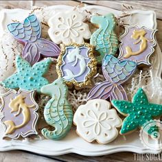 "172 Likes, 6 Comments - The Sugar Jar (@thesugarjar1) on Instagram: ""Mermaid cookies with a touch of gold mermaid tails inspired by the amazing @thepinkmixingbowl…"""
