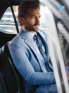 Click to view full size image Best Blue Suits, Game Of Thrones Cast, Suit And Tie, Michael Huisman, Angelababy, Gentleman Style, Dapper Gentleman, Gq Style, Moda Outfits