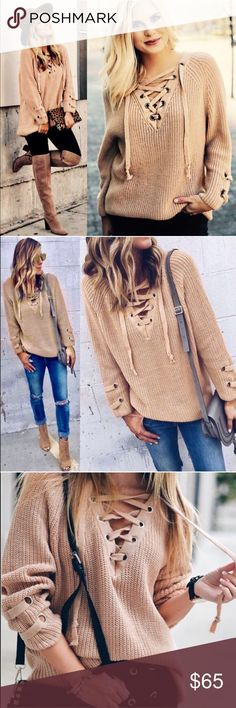 ALIA solid sweater tunic top - BEIGE solid sweater tunic with criss cross self-tying strap.   PLS NOTE SLEEVE LENGTH WILL VARY DEPENDING ON EACH PERSONS HEIGHT & ARM LENGTH     NO TRADE   PRICE FIRM Bellanblue Sweaters