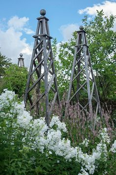 Obelisk trellis country garden