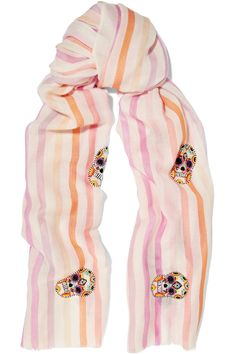 JANAVI Embellished striped cashmere and merino wool-blend scarf  $430.00 https://www.net-a-porter.com/product/817647