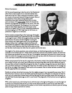 Fantastic CCSS aligned worksheet featuring Abraham Lincoln's 2nd Inaugural Address with included Review Questions that highlight the speech's powerful message.