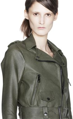 Acne Mape Petite Forest Green Leather Jacket    #Scrubs #Nurses #Nursing #StudentNurse #SmittenScrubs @SmittenScrubs #healthcare #uniforms #NursingUniforms #StPatricksDay