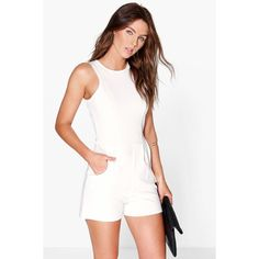 Boohoo Lily Crepe Sleeveless Playsuit ($26) ❤ liked on Polyvore featuring jumpsuits, rompers, ivory, sleeveless jersey, white romper, sleeveless romper, white jersey and playsuit romper