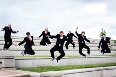 groomsmen jumping.
