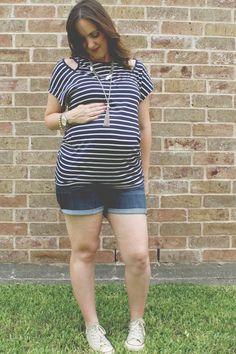 Third Trimester Maternity Style – Casual Stripes #asos #maternityfashion