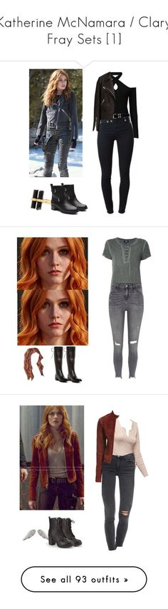 """Katherine McNamara / Clary Fray Sets [1]"" by demiwitch-of-mischief ❤ liked on Polyvore featuring Witchery, House of Harlow 1960, J Brand, Versace, AllSaints, Paige Denim, Steve Madden, River Island, McGuire and Theory"