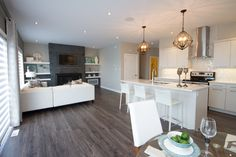 Willow Creek Showhome Open concept living room, kitchen and dining area Room Kitchen, Kitchen Dining, Willow Creek, Build Your Dream Home, Open Concept, Home Builders, Dining Area, Living Room, Furniture