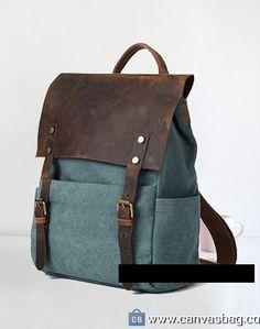 blue Genuine Cow Leather Canvas Backpack -Leather Canvas Bag – Camera Bag DSLR