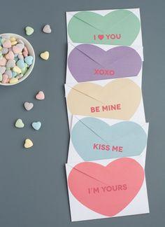 DIY conversation heart envelopes.<3