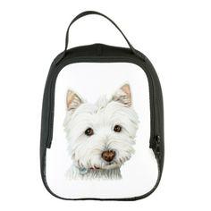Cute West Highland White Terrier Dog Neoprene Lunch Bag