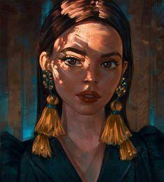 """illustration art """" Golden Touch """" by Angel Ganev - Drawn Art, Arte Sketchbook, Illustration Art, Illustrations, Digital Art Girl, Anime Art Girl, Portrait Art, Digital Portrait Painting, Painting Portraits"""