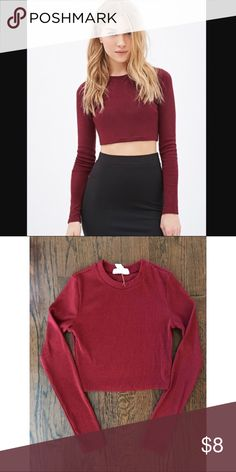 Forever 21 Crop Top Forever 21 Long Sleeved Maroon Crop Top Forever 21 Tops Crop Tops