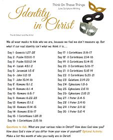 Our June Scripture Writing Plan poses us to reflect on who you are in Christ. Set aside some time each of these days with a cool drink and The Word.