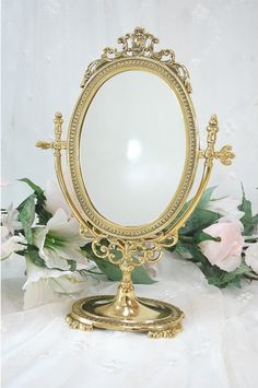 Victorian Table Mirror Makeup Mirror On Stand Antique