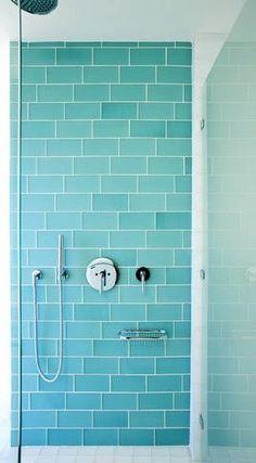 Aqua glass subway tile