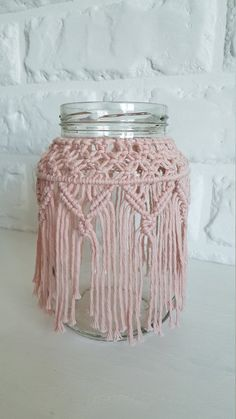 Items similar to Macrame Jar, Macrame Vase, Christmas Decor, Macrame Candle Hold. Macrame Projects, Crochet Projects, Diy Art Projects Canvas, Macrame Curtain, Boho Home, Mason Jar Candles, Diy Arts And Crafts, Diy Crafts, Macrame Patterns
