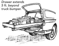 "(( The Big Drawer - Fine Homebuilding Article )) -- ""I know truck-bed extenders are available commercially, but I decided to make my own to demonstrate my carpentry and problem-solving skills to my clients. It seems to have worked. My truck's Big Drawer never fails to be a great conversation starter. The Big Drawer is made up of two parts: the drawer and the support-roller system. Neither is attached to the truck bed, so it's not difficult to remove the rig if I need to haul a load of…"