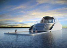 The Atreides Luxury Yacht was designed by Serbian designer Vuk Dragovic. This super luxurious yacht has a hot tub and a retractable pool that goes out into the ocean. The pool includes a lining to keep you safe while swimming! #yacht #Serbia