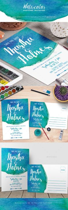 Watercolor Postcard Invitation Template #design #print Download: http://graphicriver.net/item/watercolor-postcard-invitation-/12010747?ref=ksioks