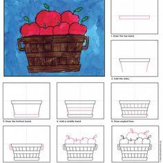 69 Ideas Basket Drawing Apple For 2019 Apple Art Projects, Fall Art Projects, School Art Projects, Projects For Kids, Drawing Lessons, Drawing Projects, Art Lessons, Drawing Techniques, Watercolor Techniques