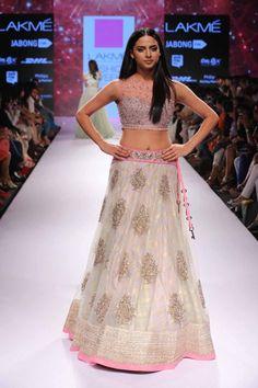 TDB Picks White ivory pale pink lavender lehenga Anushree Reddy at Lakme Fashion Week Summer Resort 2015